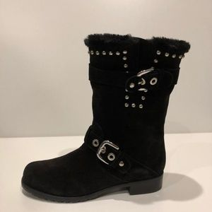 Stuart Weitzman Studded Faux Fur Lined Suede Boots